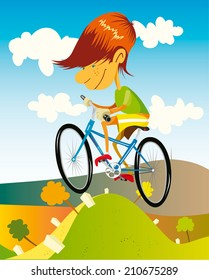 Illustration of a skinny boy with red head riding a blue bike in summer. Hilly landscape under the blue sky with white clouds.