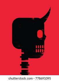 Illustration of skull with devil horns