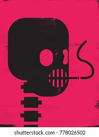 Illustration of skull smoking a cigarette