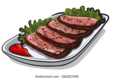 illustration of sliced roast beef with tomato sauce and lettuce