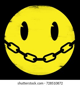 Illustration of smiley face with a chain for a mouth.