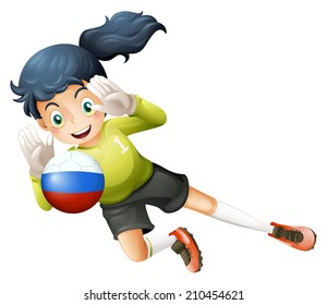 Illustration of a smiling lady using the ball with the Russian flag on a white background