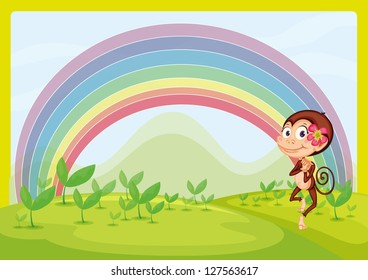 Illustration of a smiling monkey and a rainbow in a beautiful nature