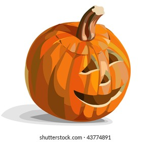 Illustration of smiling pumpkin Jack O'Lantern for Halloween. Vector version is available.
