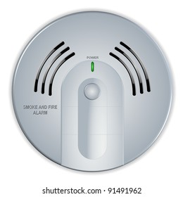 An illustration of a smoke and fire white house detector / Smoke and fire detector