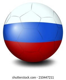 Illustration of a soccer ball designed with the Russian flag on a white background