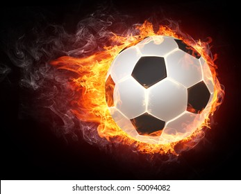 Illustration of the soccer ball enveloped in flames of fire isolated on black background.