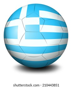 Illustration of a soccer ball with the flag of Greece on a white background