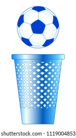 Illustration of the soccer ball and recycle bin