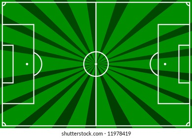 illustration of a  soccer field with dark and light green strips