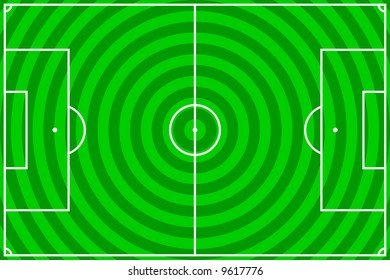 illustration of a soccer field with green circles