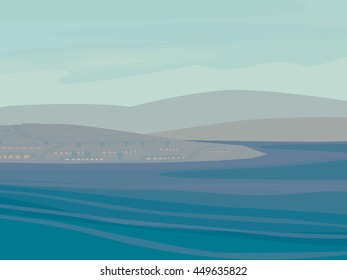 Illustration of Soft HIlls and the Ocean