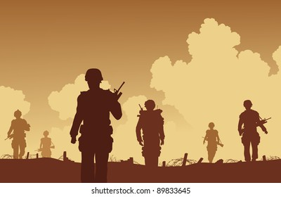 Illustration of soldiers walking on patrol