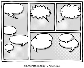 illustration of some comic frames as background with speech bubbles