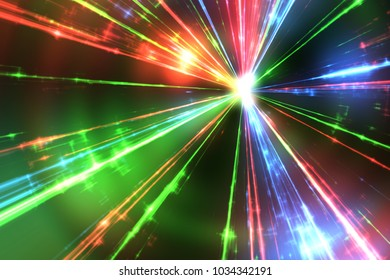 Illustration of some red green and blue laser rays