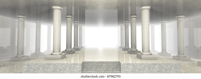 Illustration of a spacious marble building (3d render)