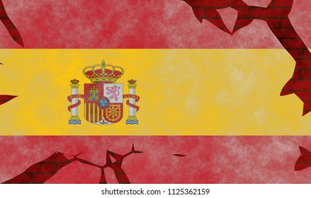 Illustration of a Spanishe Flag, imitating of a painting on the old wall with cracks