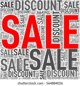 Illustration of special sale discount wordcloud wordtag