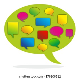 illustration of a speech bubble combining different opinions
