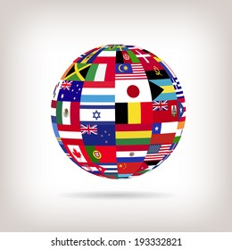 Illustration of a sphere with flags from countries across the world.