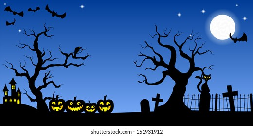 illustration of a spooky halloween background