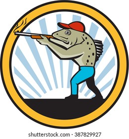 Illustration of a spotted sea trout hunter carrying gun rifle shooting viewed from the side set inside circle with sunburst in the background done in retro style,