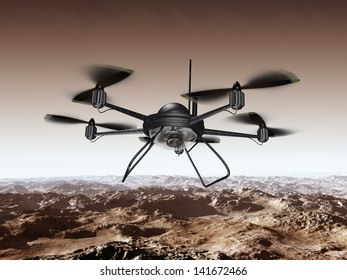 Illustration of a spy drone scanning a mountainous region