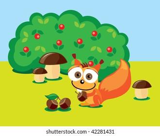 Illustration of squirrel with acorn