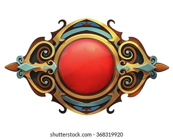 Illustration of steampunk emblem with red gem and gold