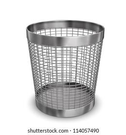 Illustration of steel wastebasket. White background.