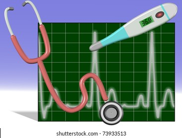Illustration of stethoscope, thermometer and ECG with white and blue background / Stethoscope thermometer ECG
