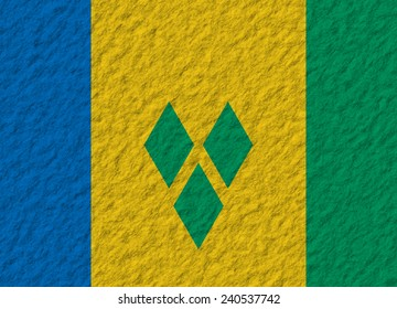 illustration of a stone flag of Saint Vincent and the Grenadines