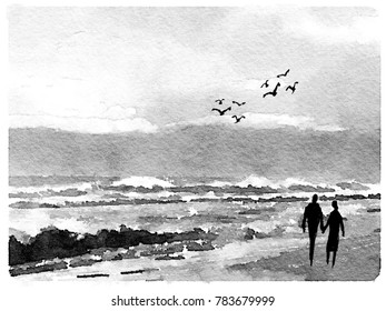 Illustration of stormy waves on a grey beach scene with couple strolling hand in hand.