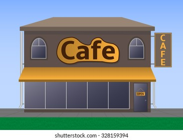 Illustration of street cafe. Raster version