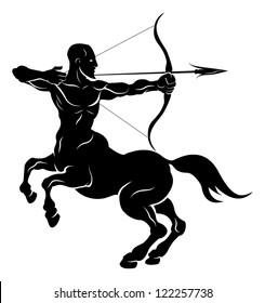 An illustration of a stylised black centaur archer perhaps a centaur archer tattoo