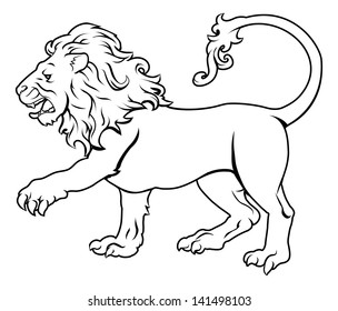 An illustration of a stylised black lion perhaps a lion tattoo