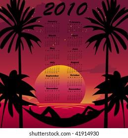Illustration of stylish design Calendar for 2010 with summer background.