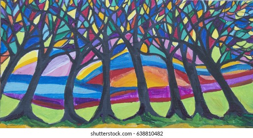 An illustration of stylized trees in bright colors. The trees have branches filled with panels of color. The trees are growing in green grass with a sunset behind them.