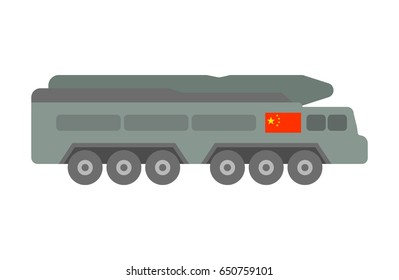 illustration of such military equipment as guided-weapon system with flag of China on white background. Countries' military forces topic.