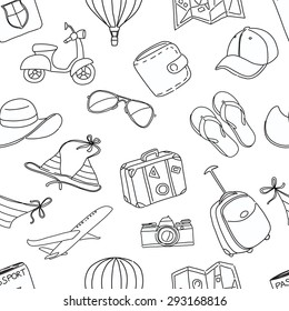 illustration Summer vacation sketch doodle seamless pattern. Black and white