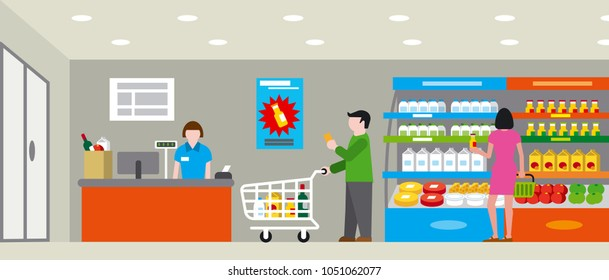 illustration of supermarket with shopping people and products