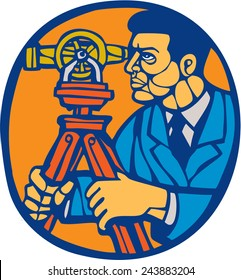 Illustration of a surveyor geodetic engineer with theodolite instrument surveying viewed from side set inside circle done in retro woodcut linocut style.