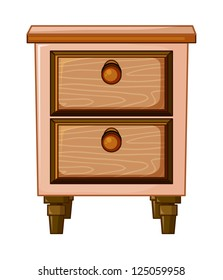 illustration of a table with drawer on a white background