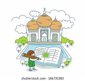 Illustration of tajmahal in India