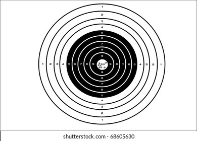 illustration of target with bullet holes at a bull's eye