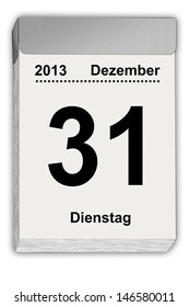 illustration of a tear off calendar with German sheet  December 31,2013
