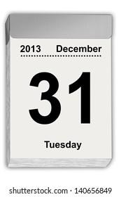 illustration of a tear off calendar with sheet December 31, 2013