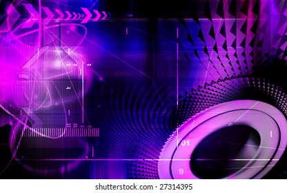 Illustration of technology in colour background
