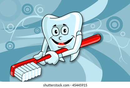 Illustration of a teeth and brush  with background
