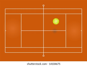 Illustration of a tennis court